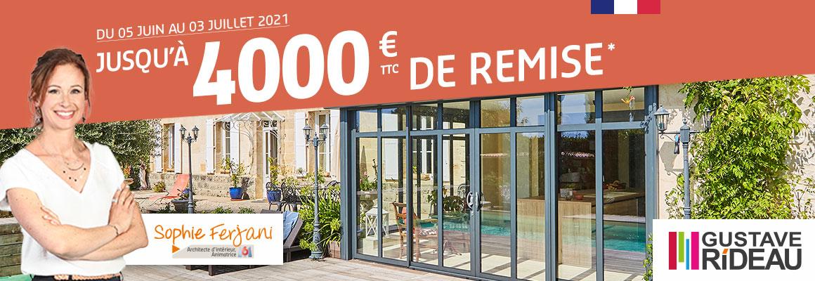 Profitez de notre offre jusqu'à 4000€ de remise pour l'achat d'un produit de le SAS Alu Rideau